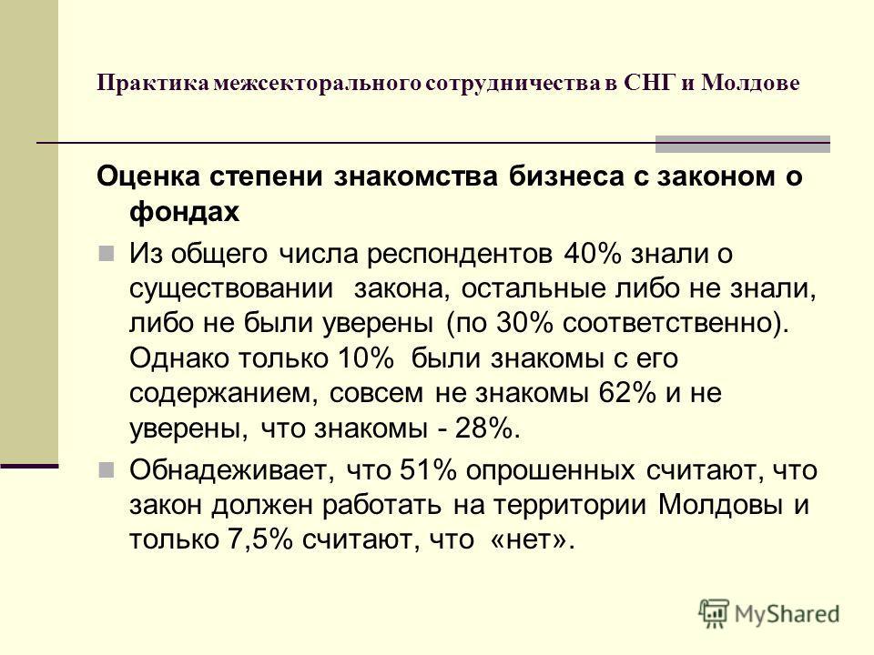 Практика межсекторального сотрудничества в СНГ и Молдове Оценка степени знакомства бизнеса с законом о фондах Из общего числа респондентов 40% знали о существовании закона, остальные либо не знали, либо не были уверены (по 30% соответственно). Однако