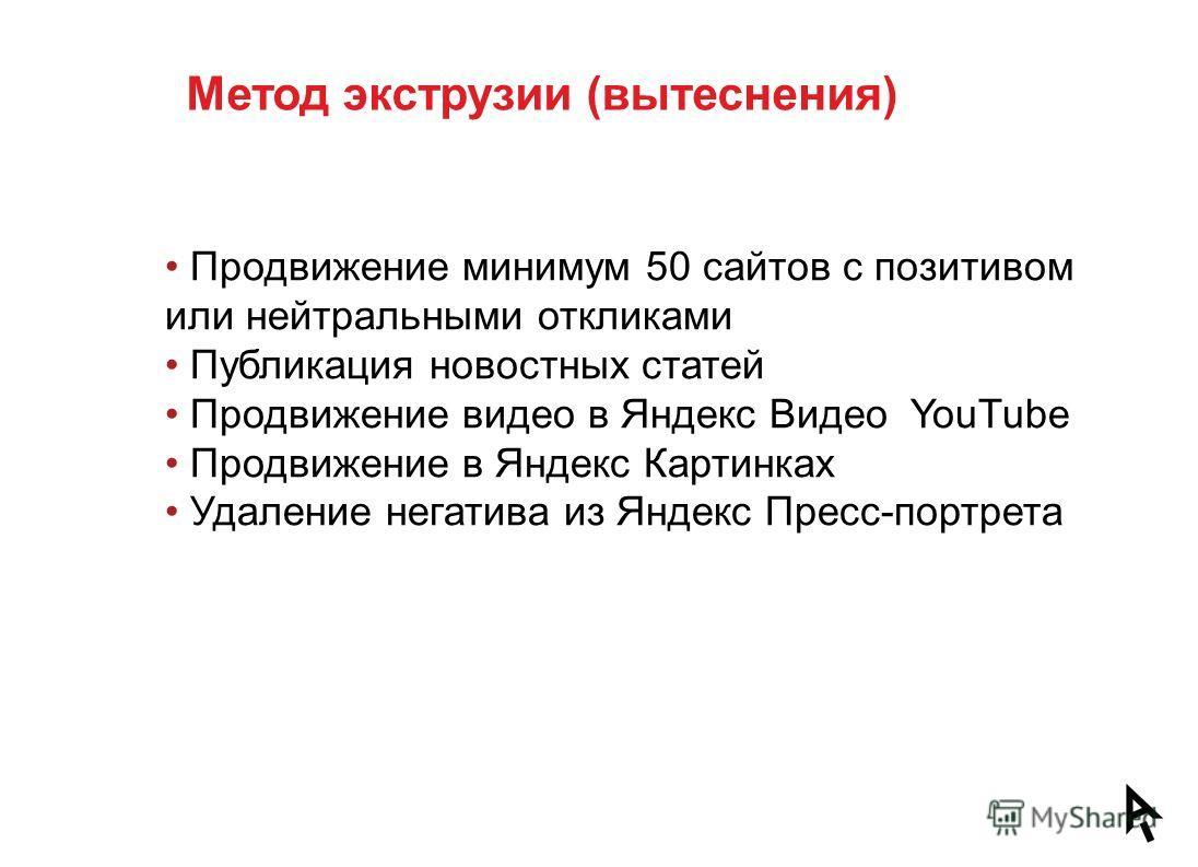 Продвижение минимум 50 сайтов с позитивом или нейтральными откликами Публикация новостных статей Продвижение видео в Яндекс Видео YouTube Продвижение в Яндекс Картинках Удаление негатива из Яндекс Пресс-портрета Метод экструзии (вытеснения)