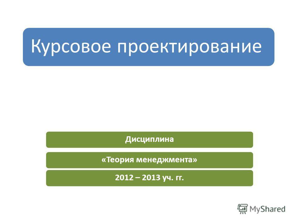 Курсовое проектирование Дисциплина«Теория менеджмента»2012 – 2013 уч. гг.
