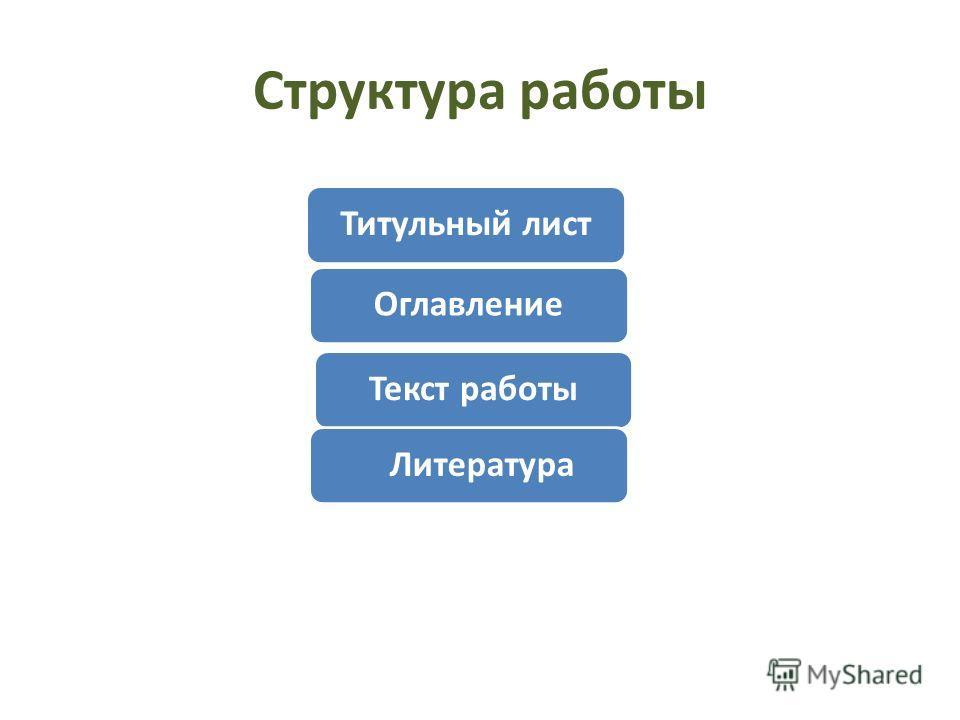Структура работы Титульный лист ОглавлениеТекст работы Литература