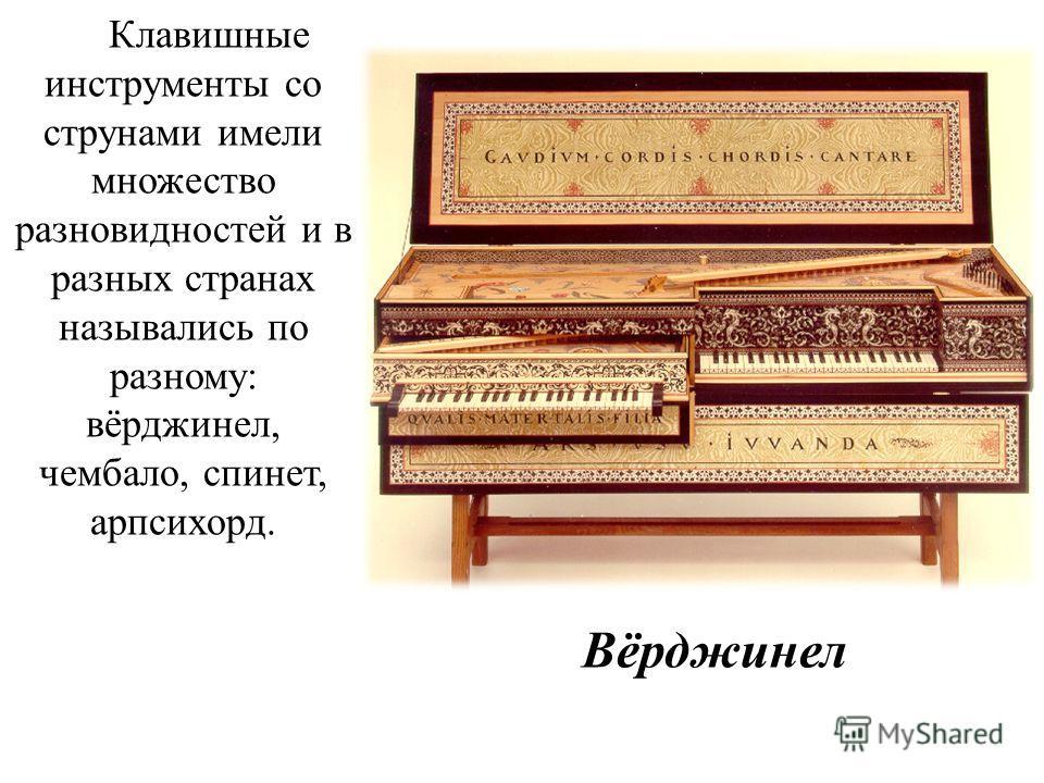 Клавишные инструменты со струнами имели множество разновидностей и в разных странах назывались по разному: вёрджинел, чембало, спинет, арпсихорд. Вёрджинел