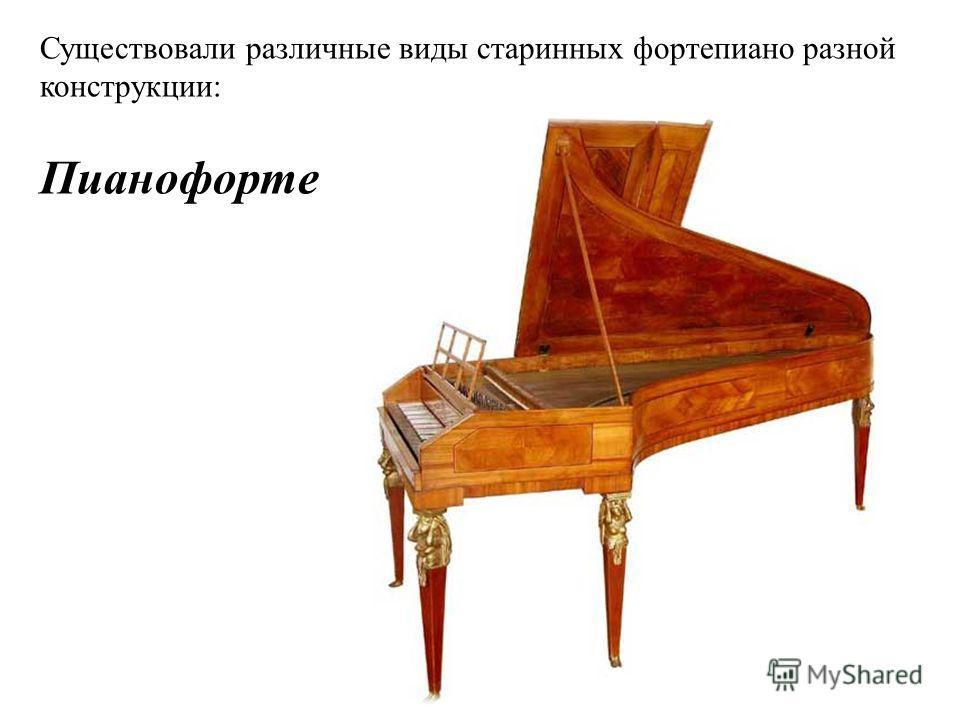 Существовали различные виды старинных фортепиано разной конструкции: Пианофорте