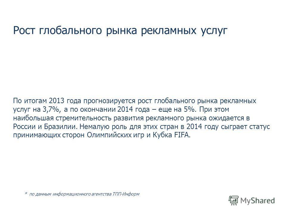 Рост глобального рынка рекламных услуг По итогам 2013 года прогнозируется рост глобального рынка рекламных услуг на 3,7%, а по окончании 2014 года – еще на 5%. При этом наибольшая стремительность развития рекламного рынка ожидается в России и Бразили