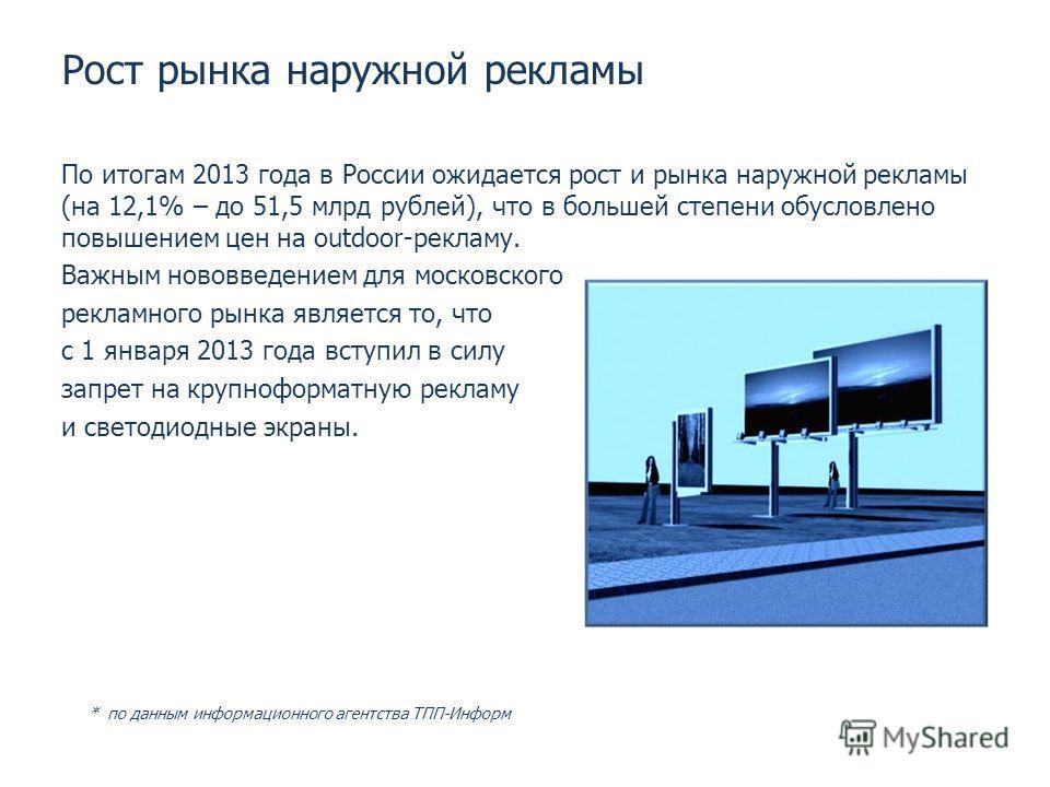 Рост рынка наружной рекламы По итогам 2013 года в России ожидается рост и рынка наружной рекламы (на 12,1% – до 51,5 млрд рублей), что в большей степени обусловлено повышением цен на outdoor-рекламу. Важным нововведением для московского рекламного ры