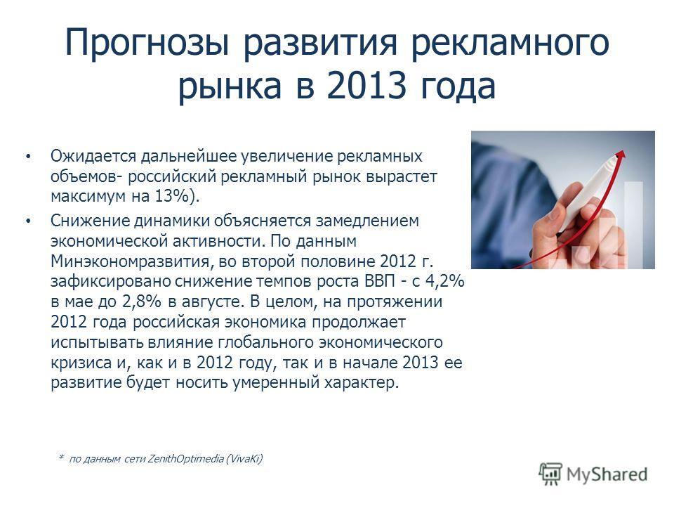 Прогнозы развития рекламного рынка в 2013 года Ожидается дальнейшее увеличение рекламных объемов- российский рекламный рынок вырастет максимум на 13%). Снижение динамики объясняется замедлением экономической активности. По данным Минэкономразвития, в