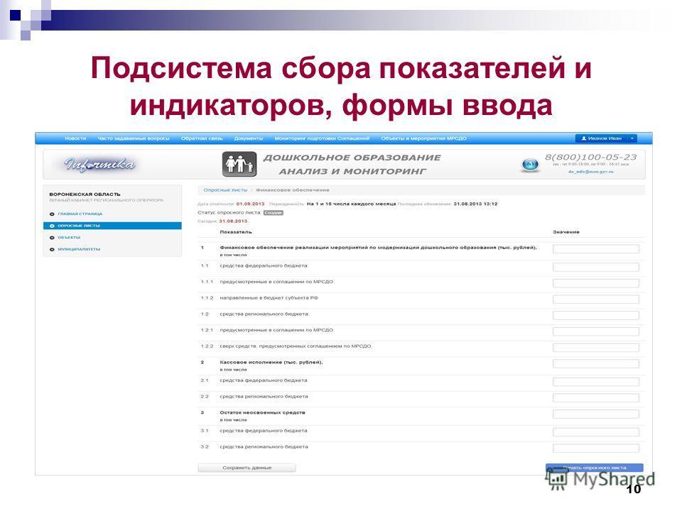 Подсистема сбора показателей и индикаторов, формы ввода 10