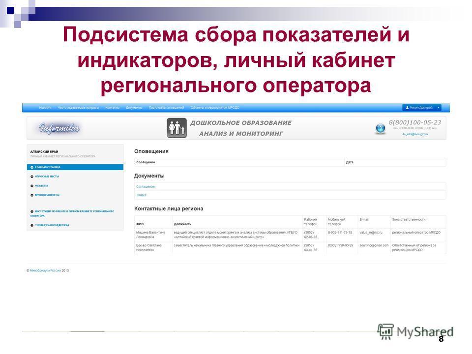Подсистема сбора показателей и индикаторов, личный кабинет регионального оператора 8