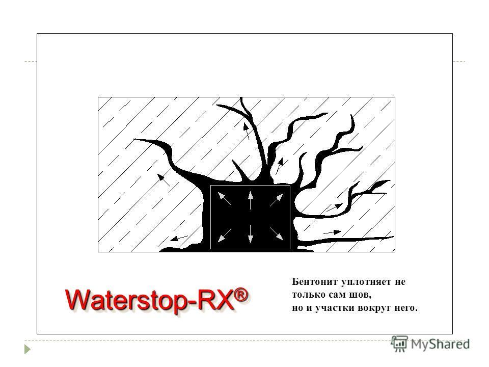 Waterstop-RX ® Бентонит уплотняет не только сам шов, но и участки вокруг него.