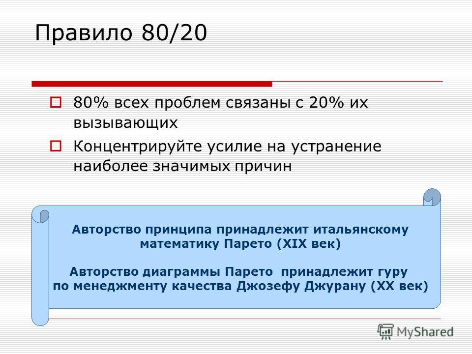 Правило 80/20 80% всех проблем связаны с 20% их вызывающих Концентрируйте усилие на устранение наиболее значимых причин Авторство принципа принадлежит итальянскому математику Парето (XIX век) Авторство диаграммы Парето принадлежит гуру по менеджменту