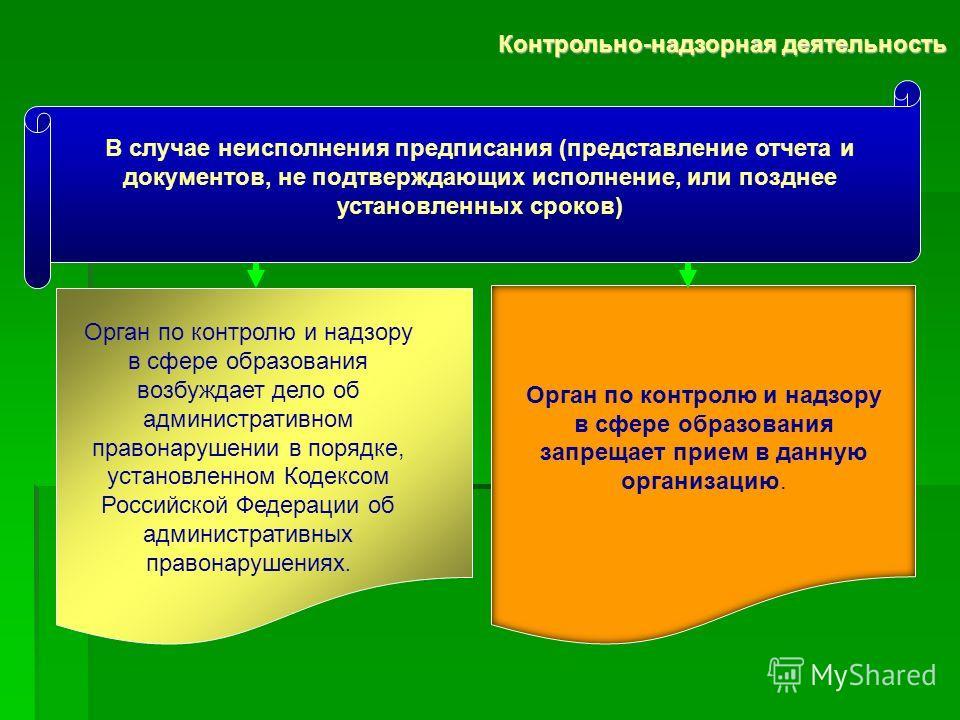 Орган по контролю и надзору в сфере образования возбуждает дело об административном правонарушении в порядке, установленном Кодексом Российской Федерации об административных правонарушениях. Орган по контролю и надзору в сфере образования запрещает п