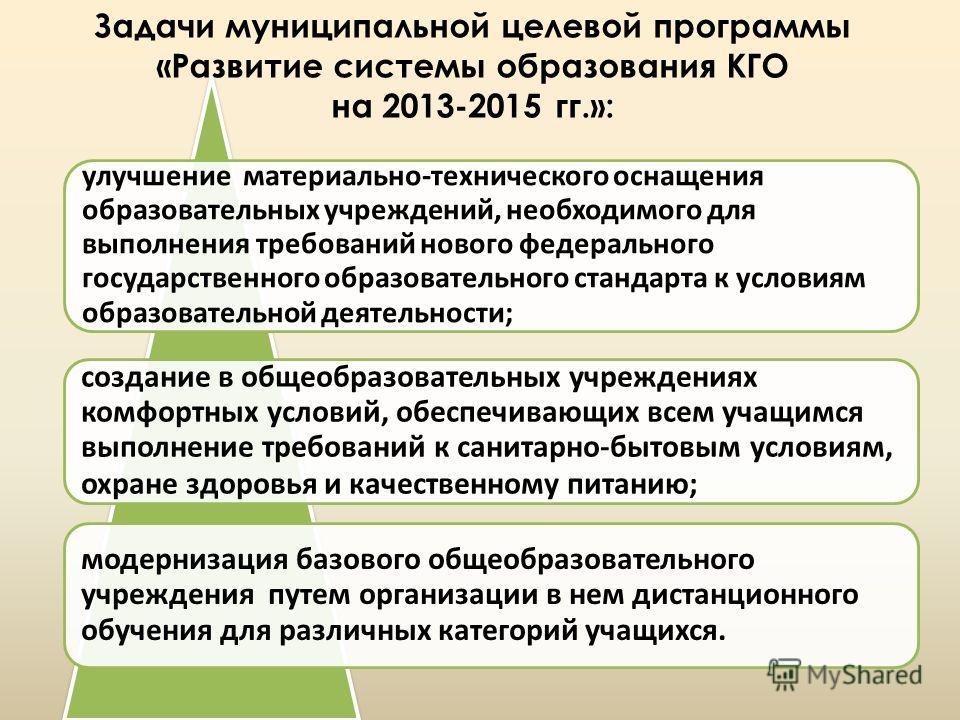 Задачи муниципальной целевой программы «Развитие системы образования КГО на 2013-2015 гг.»: улучшение материально-технического оснащения образовательных учреждений, необходимого для выполнения требований нового федерального государственного образоват