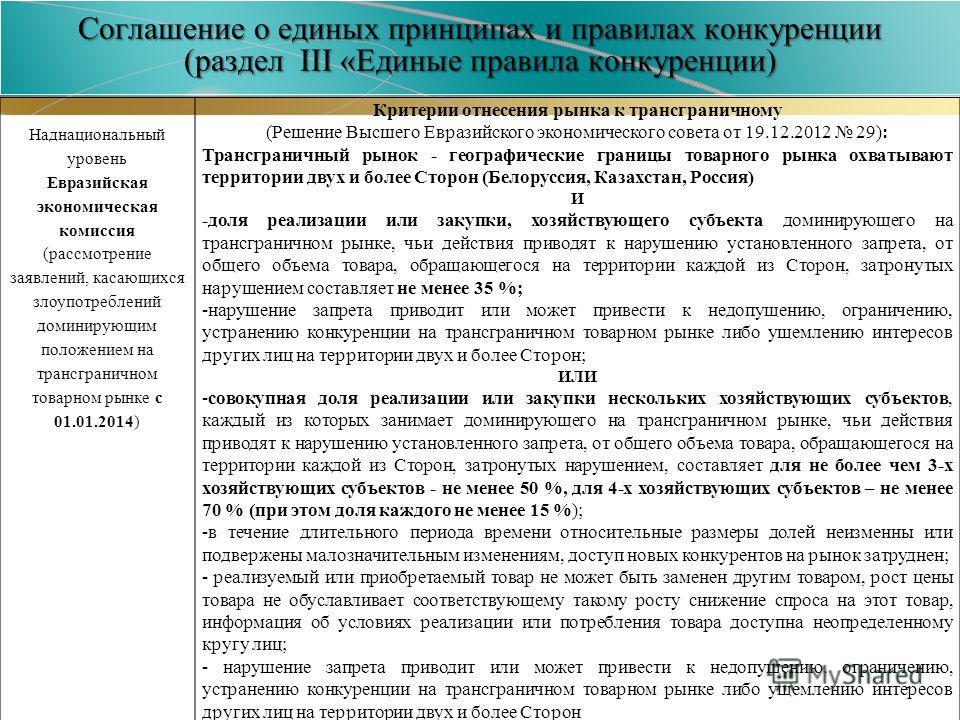 Соглашение о единых принципах и правилах конкуренции (раздел III «Единые правила конкуренции) Наднациональный уровень Евразийская экономическая комиссия (рассмотрение заявлений, касающихся злоупотреблений доминирующим положением на трансграничном тов