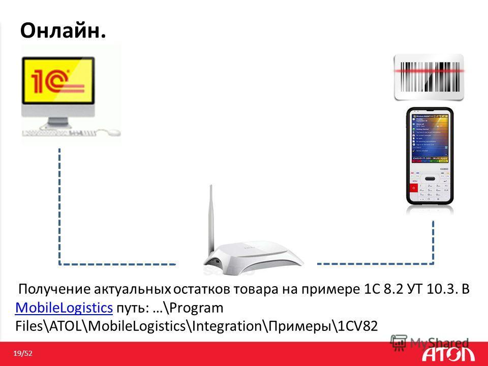 Онлайн. 19/52 Получение актуальных остатков товара на примере 1С 8.2 УТ 10.3. В MobileLogistics путь: …\Program Files\ATOL\MobileLogistics\Integration\Примеры\1CV82 MobileLogistics