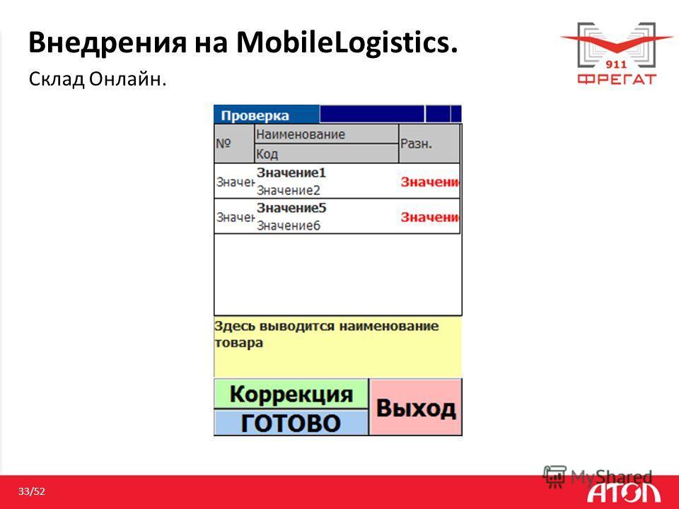 Внедрения на MobileLogistics. Склад Онлайн. 33/52