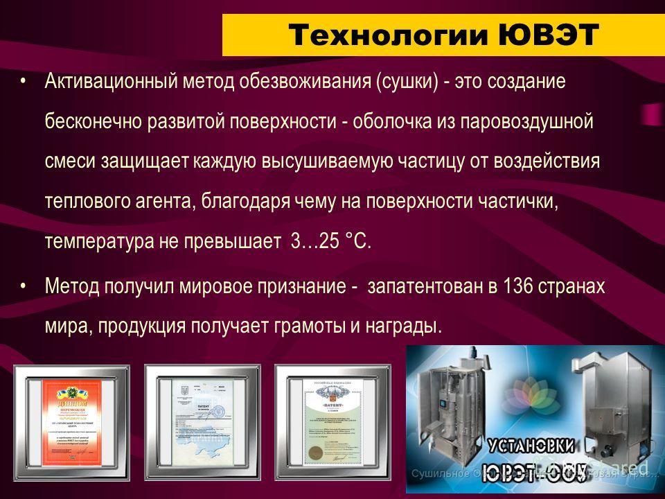 Технологии ЮВЭТ Активационный метод обезвоживания (сушки) - это создание бесконечно развитой поверхности - оболочка из паровоздушной смеси защищает каждую высушиваемую частицу от воздействия теплового агента, благодаря чему на поверхности частички, т