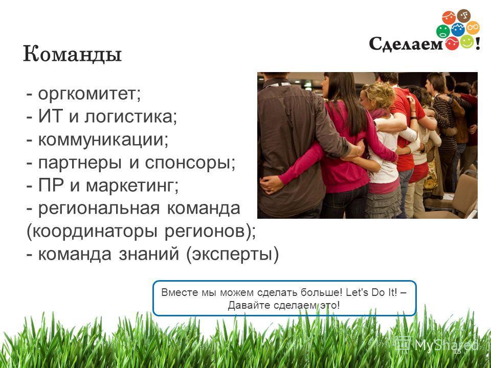 15 Команды - оргкомитет; - ИТ и логистика; - коммуникации; - партнеры и спонсоры; - ПР и маркетинг; - региональная команда (координаторы регионов); - команда знаний (эксперты) Вместе мы можем сделать больше! Let's Do It! – Давайте сделаем это!