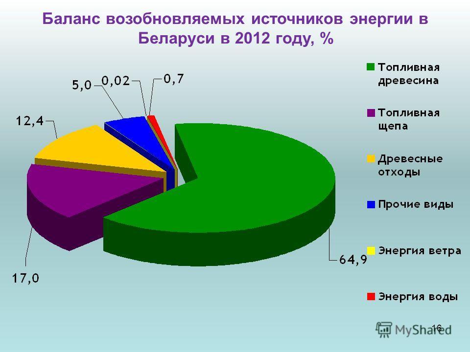 Баланс возобновляемых источников энергии в Беларуси в 2012 году, % 16