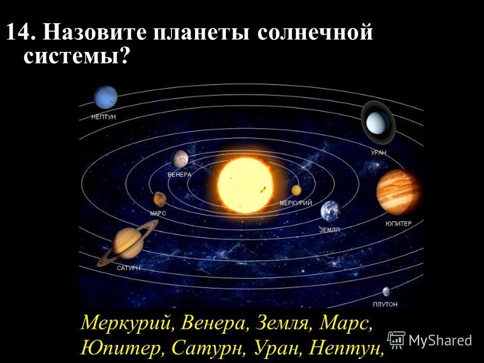 14. Назовите планеты солнечной системы? Меркурий, Венера, Земля, Марс, Юпитер, Сатурн, Уран, Нептун,