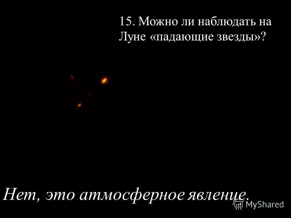 15. Можно ли наблюдать на Луне «падающие звезды»? Нет, это атмосферное явление.