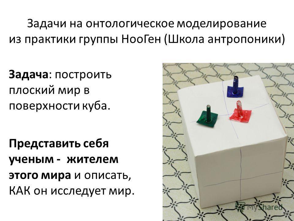 Задачи на онтологическое моделирование из практики группы НооГен (Школа антропоники) Задача: построить плоский мир в поверхности куба. Представить себя ученым - жителем этого мира и описать, КАК он исследует мир.