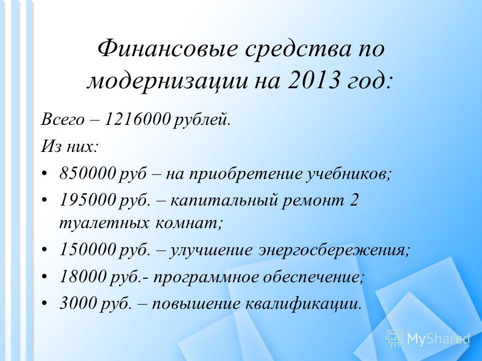 Финансовые средства по модернизации на 2013 год: Всего – 1216000 рублей. Из них: 850000 руб – на приобретение учебников; 195000 руб. – капитальный ремонт 2 туалетных комнат; 150000 руб. – улучшение энергосбережения; 18000 руб.- программное обеспечени