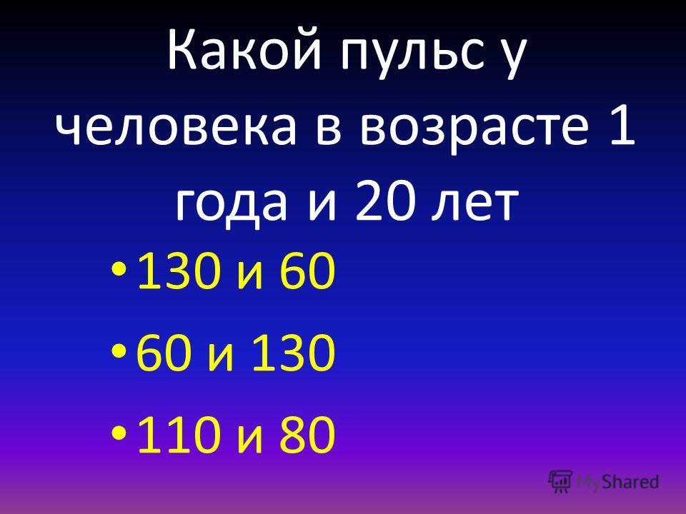 Какой пульс у человека в возрасте 1 года и 20 лет 130 и 60 60 и 130 110 и 80