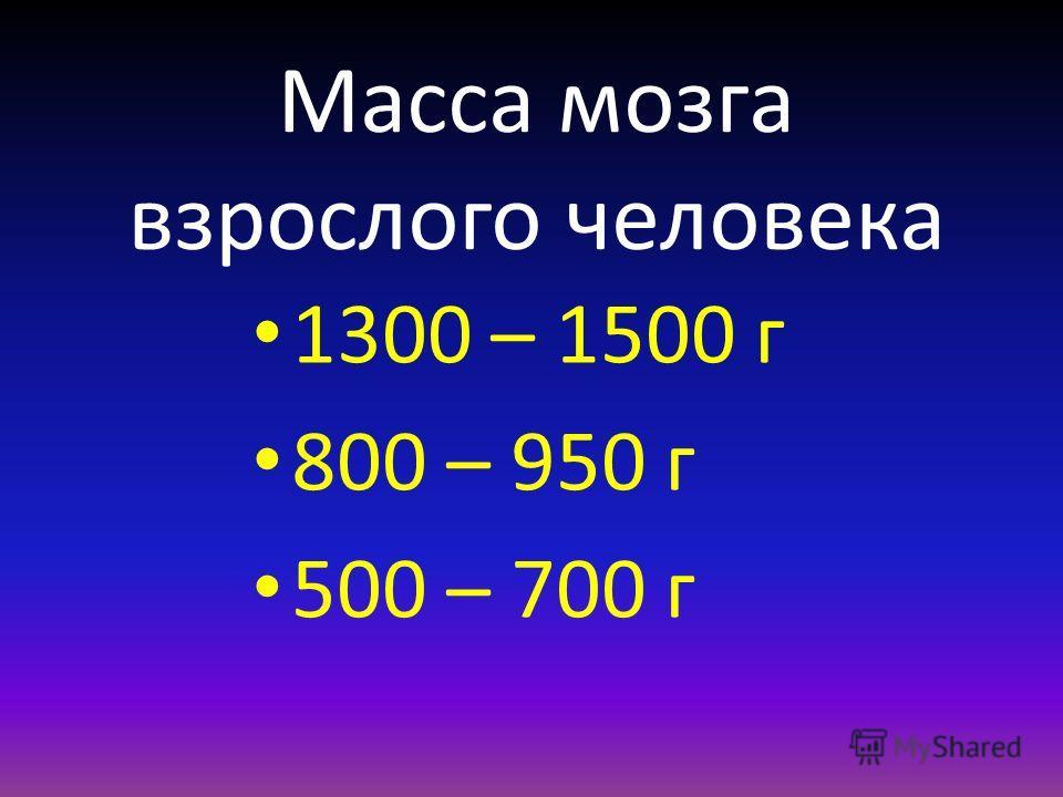 Масса мозга взрослого человека 1300 – 1500 г 800 – 950 г 500 – 700 г