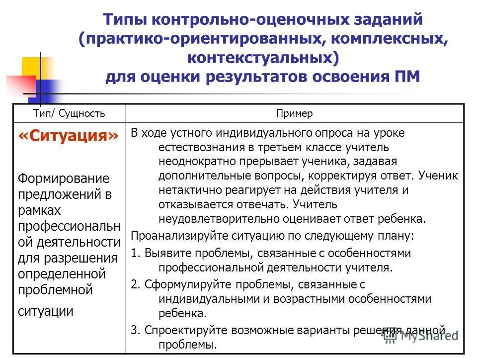 Типы контрольно-оценочных заданий (практико-ориентированных, комплексных, контекстуальных) для оценки результатов освоения ПМ Тип/ СущностьПример «Ситуация» Формирование предложений в рамках профессиональн ой деятельности для разрешения определенной