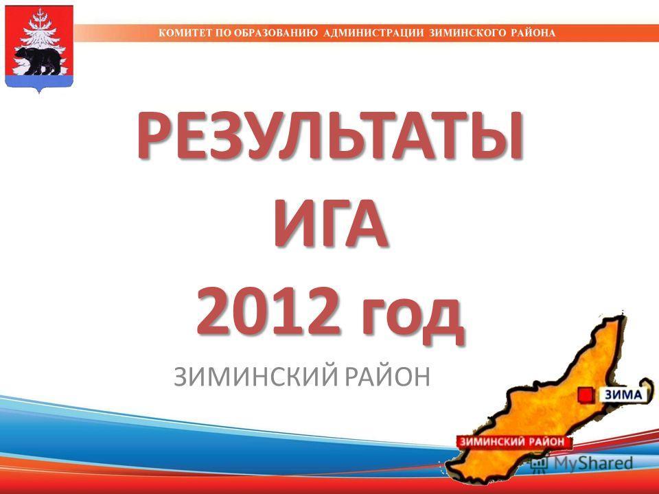 РЕЗУЛЬТАТЫ ИГА 2012 год ЗИМИНСКИЙ РАЙОН