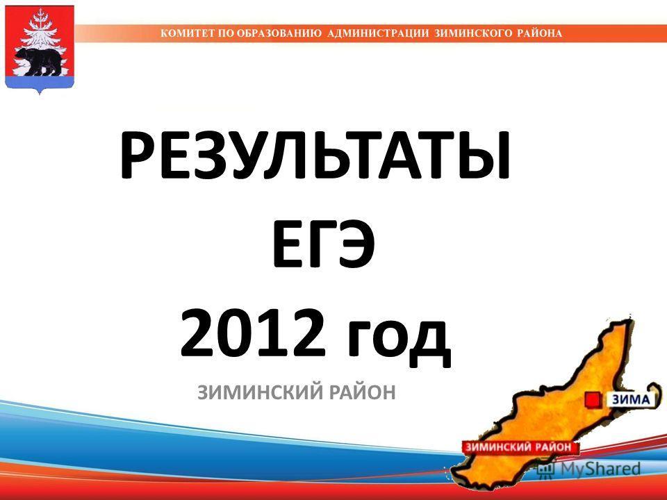 РЕЗУЛЬТАТЫ ЕГЭ 2012 год ЗИМИНСКИЙ РАЙОН