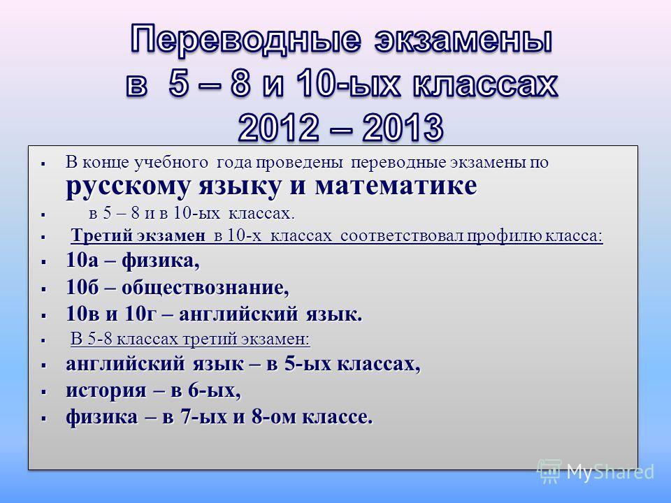 В конце учебного года проведены переводные экзамены по русскому языку и математике В конце учебного года проведены переводные экзамены по русскому языку и математике в 5 – 8 и в 10-ых классах. в 5 – 8 и в 10-ых классах. Третий экзамен в 10-х классах
