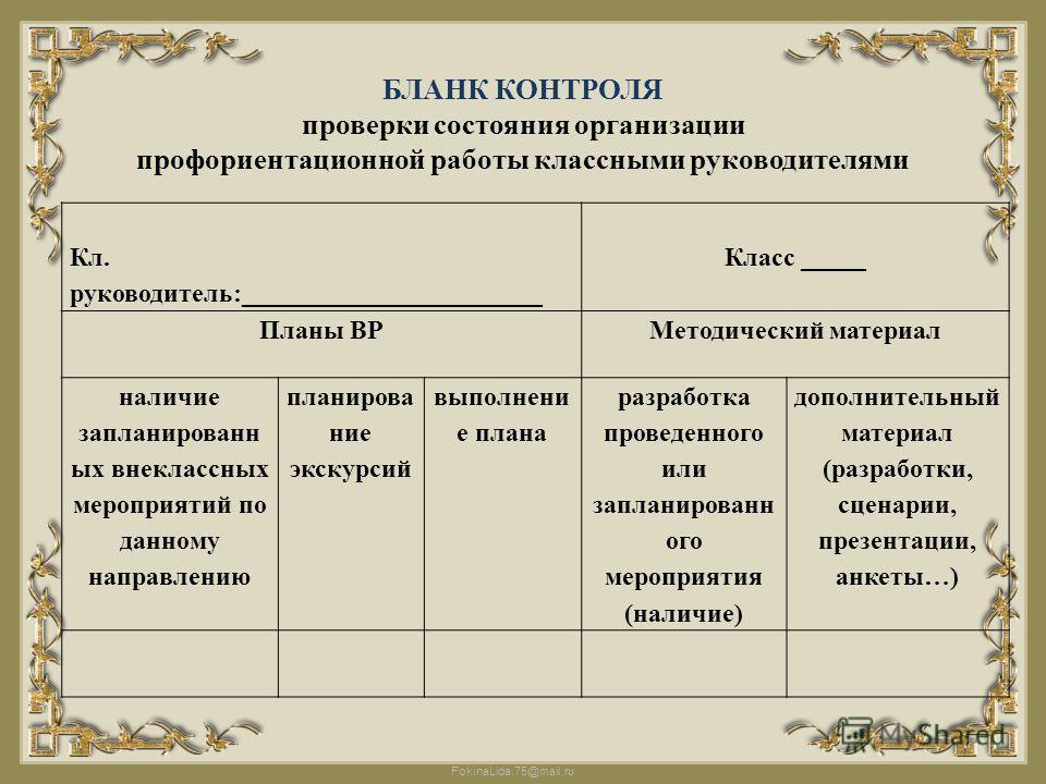 FokinaLida.75@mail.ru БЛАНК КОНТРОЛЯ проверки состояния организации профориентационной работы классными руководителями Кл. руководитель:_______________________ Класс _____ Планы ВРМетодический материал наличие запланированн ых внеклассных мероприятий