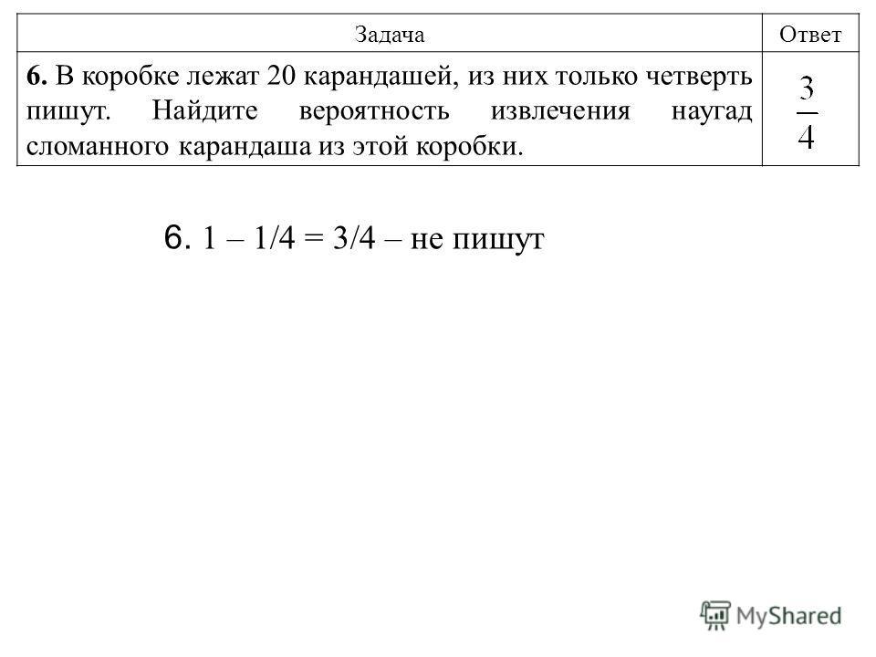 ЗадачаОтвет 6. В коробке лежат 20 карандашей, из них только четверть пишут. Найдите вероятность извлечения наугад сломанного карандаша из этой коробки. 6. 1 – 1/4 = 3/4 – не пишут
