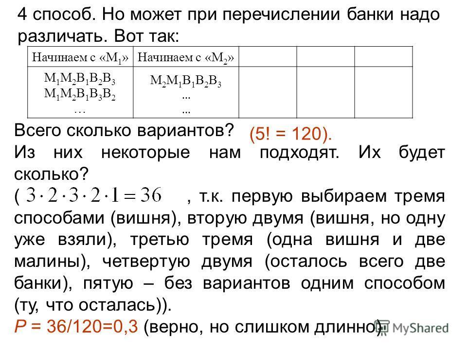 4 способ. Но может при перечислении банки надо различать. Вот так: Начинаем с «М 1 »Начинаем с «М 2 » М1М2В1В2В3М1М2В1В3В2…М1М2В1В2В3М1М2В1В3В2… М2М1В1В2В3……М2М1В1В2В3…… Всего сколько вариантов? Из них некоторые нам подходят. Их будет сколько? (, т.к