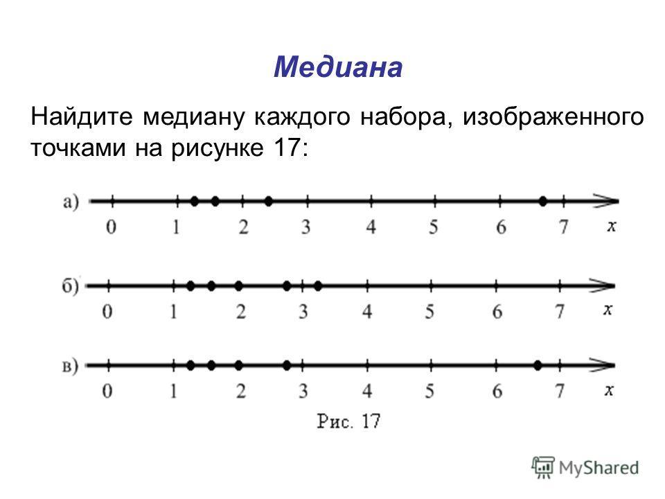 Медиана Найдите медиану каждого набора, изображенного точками на рисунке 17: