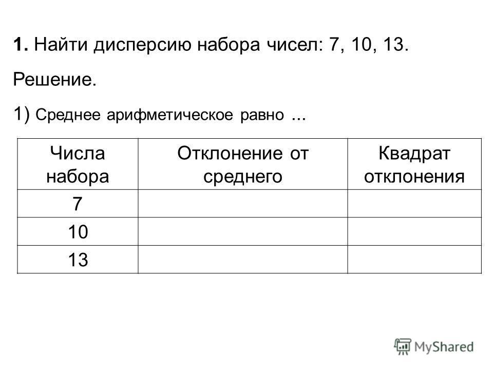 Числа набора Отклонение от среднего Квадрат отклонения 7 10 13 1. Найти дисперсию набора чисел: 7, 10, 13. Решение. 1) Среднее арифметическое равно...