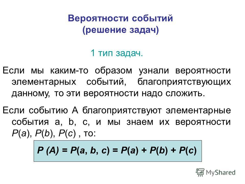 Вероятности событий (решение задач) 1 тип задач. Если мы каким-то образом узнали вероятности элементарных событий, благоприятствующих данному, то эти вероятности надо сложить. Если событию А благоприятствуют элементарные события а, b, c, и мы знаем и