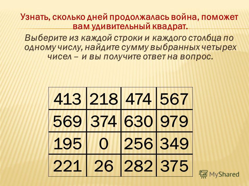 Узнать, сколько дней продолжалась война, поможет вам удивительный квадрат. Выберите из каждой строки и каждого столбца по одному числу, найдите сумму выбранных четырех чисел – и вы получите ответ на вопрос.