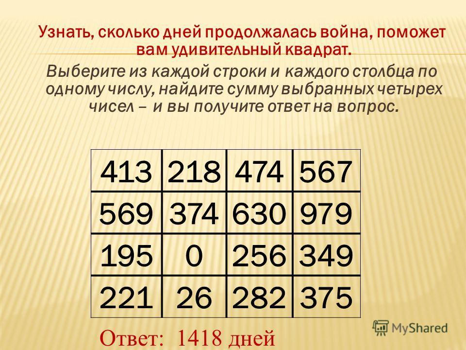 Узнать, сколько дней продолжалась война, поможет вам удивительный квадрат. Выберите из каждой строки и каждого столбца по одному числу, найдите сумму выбранных четырех чисел – и вы получите ответ на вопрос. Ответ: 1418 дней