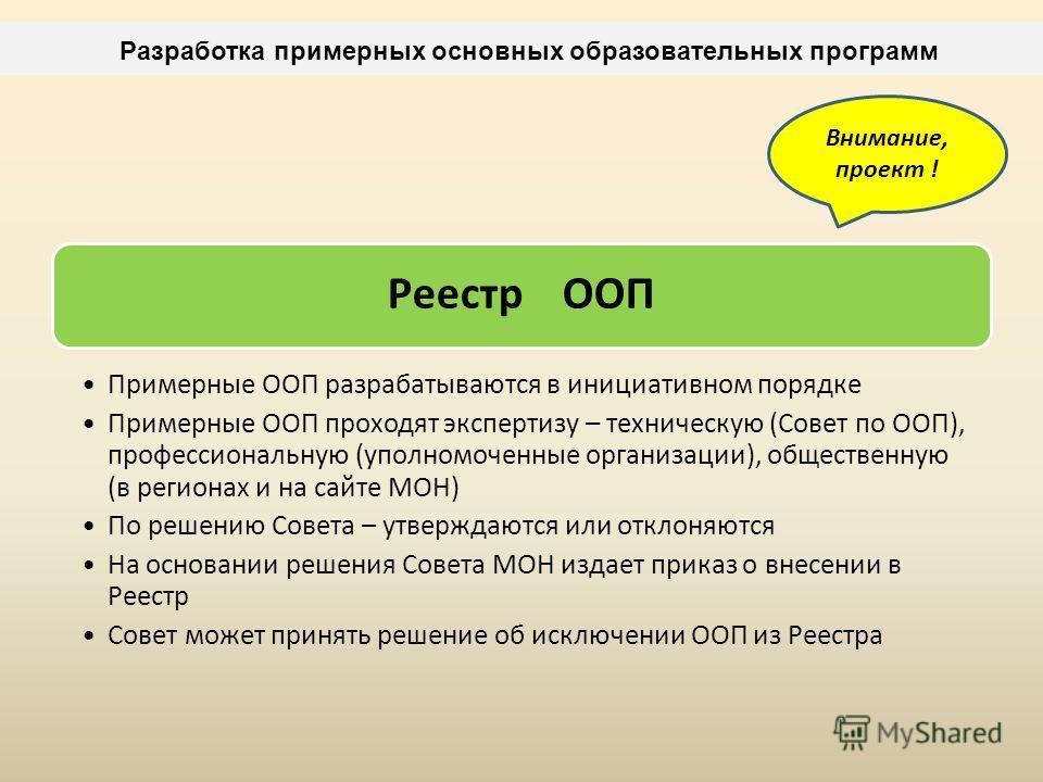 Разработка примерных основных образовательных программ Реестр ООП Примерные ООП разрабатываются в инициативном порядке Примерные ООП проходят экспертизу – техническую (Совет по ООП), профессиональную (уполномоченные организации), общественную (в реги