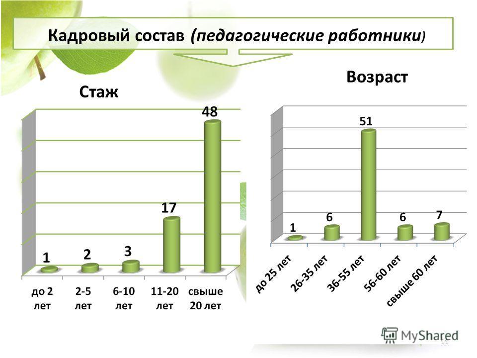 Стаж Возраст Кадровый состав (педагогические работники ) 11