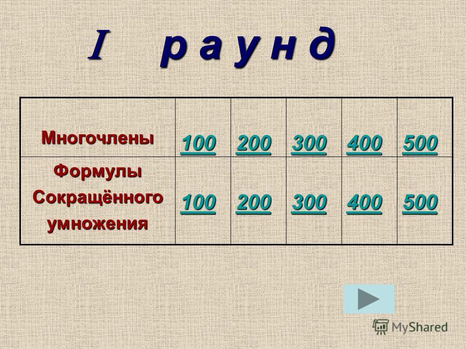 р а у н д р а у н д Многочлены 100 200 300 400 500 ФормулыСокращённогоумножения 100 200 300 400 500