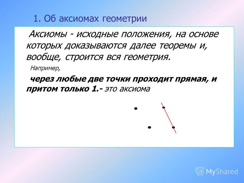 1. Об аксиомах геометрии Аксиомы - исходные положения, на основе которых доказываются далее теоремы и, вообще, строится вся геометрия. Например, через любые две точки проходит прямая, и притом только 1.- это аксиома
