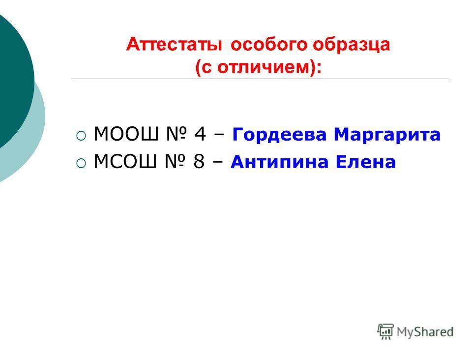 Аттестаты особого образца (с отличием): МООШ 4 – Гордеева Маргарита МСОШ 8 – Антипина Елена