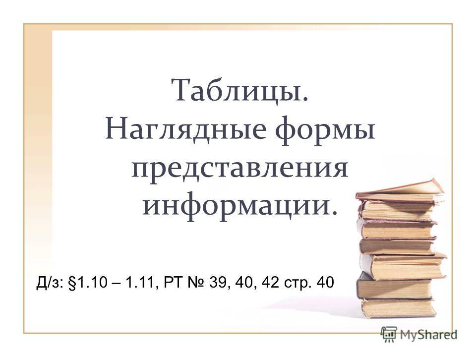 Таблицы. Наглядные формы представления информации. Д/з: §1.10 – 1.11, РТ 39, 40, 42 стр. 40