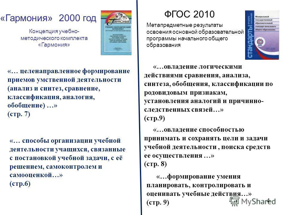 4 «Гармония» 2000 год ФГОС 2010 Метапредметные результаты освоения основной образовательной программы начального общего образования «… способы организации учебной деятельности учащихся, связанные с постановкой учебной задачи, с её решением, самоконтр