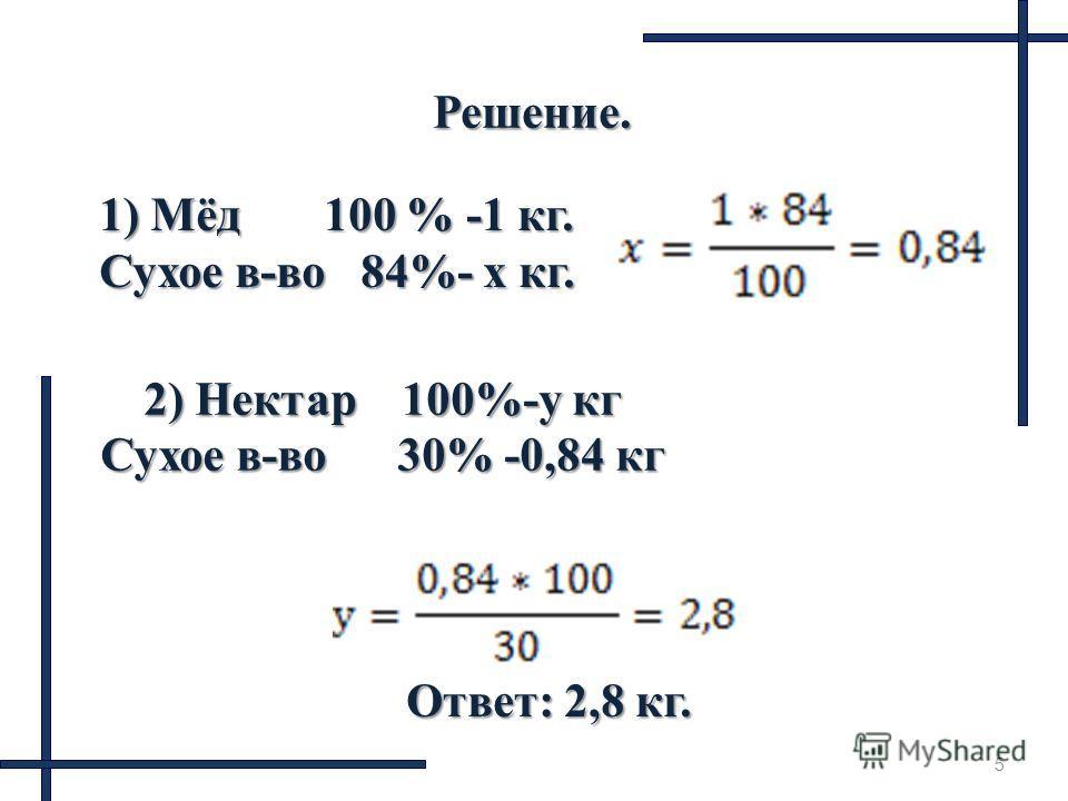 5 Решение. 1) Мёд 100 % -1 кг. Сухое в-во 84%- x кг. 2) Нектар 100%-у кг Сухое в-во 30% -0,84 кг Ответ: 2,8 кг.