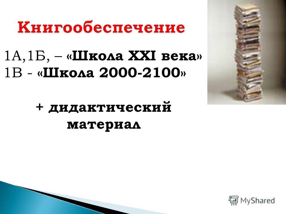 1А,1Б, – «Школа XXI века» 1В - «Школа 2000-2100» + дидактический материал