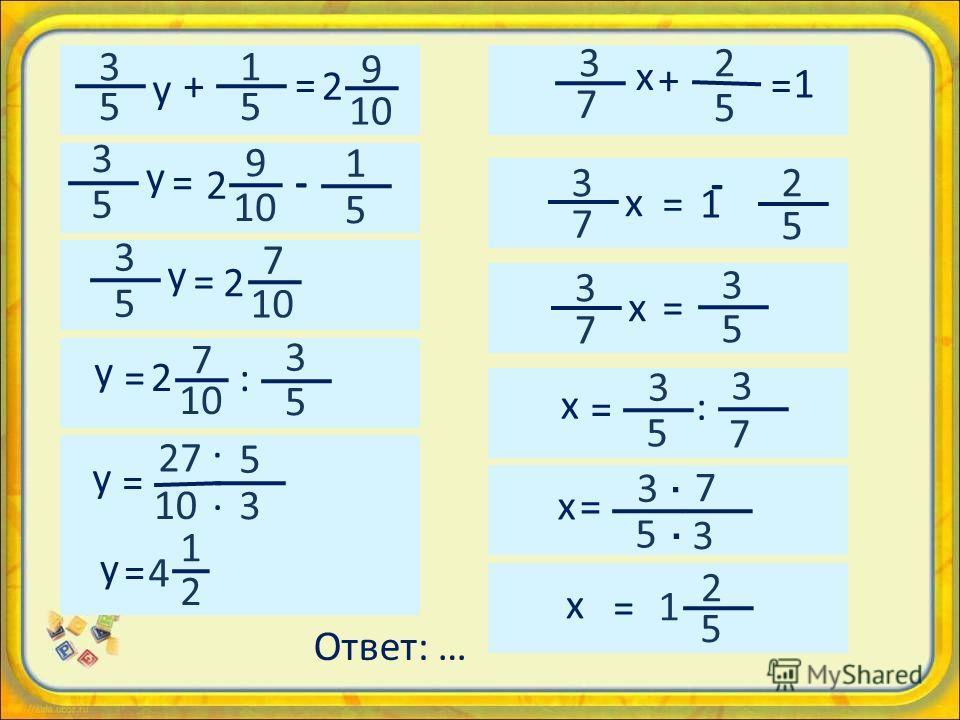 1 5 3 5 y + = 2 9 2 9 3 5 y = - 1 5 - 3 5 y = 2 7 5 3 y = 2727 · · y =2 7 : 3 5 y = 1 2 4 3 7 х х х х х х 2 5 + = 1 2 5 3 7 = 1 3 7 = 3 5 = 3 5 3 7 · = 2 5 1 = 3 5 7 3 · : Ответ: …