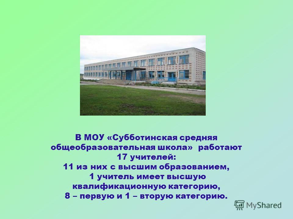 В МОУ «Субботинская средняя общеобразовательная школа» работают 17 учителей: 11 из них с высшим образованием, 1 учитель имеет высшую квалификационную категорию, 8 – первую и 1 – вторую категорию.